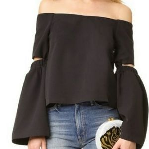 Re:named black off the shoulder cutout sleeve top